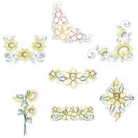 Matriz de bordado Pacote Florais Rippled 01