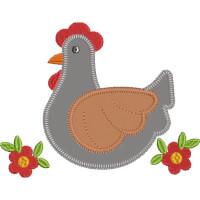 Matriz de bordado galinha aplique 23