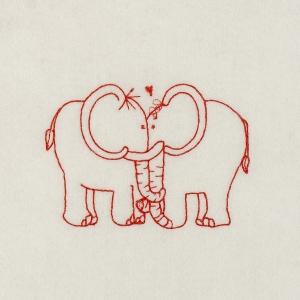 Matriz de bordado redwork elefantes  1