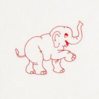 Matriz de bordado Redwork Elefante 1