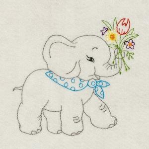 Matriz de bordado Redwork elefante 2
