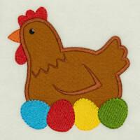 Matriz de bordado galinha aplique 24