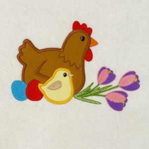 Matriz de bordado galinha aplique 26