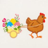 Matriz de bordado galinha aplique 28