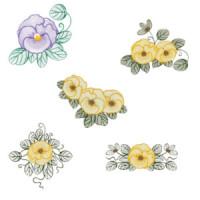 Matriz de bordado Pacote Florais Rippled 02