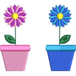 Matriz de bordado vaso de flor