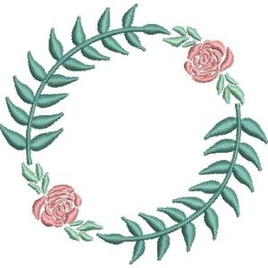 Matriz de bordado moldura floral 16