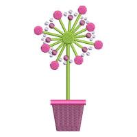 Matriz de bordado vaso de flor 3