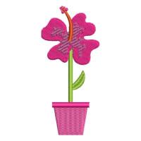 Matriz de bordado vaso de flor 5
