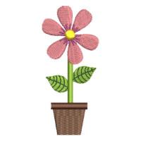 Matriz de bordado vaso de flor 6