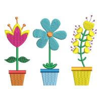Matriz de bordado vaso de flor 7