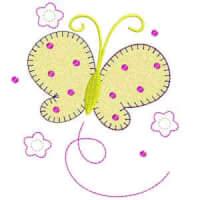 Matriz de bordado borboleta com florzinha aplique