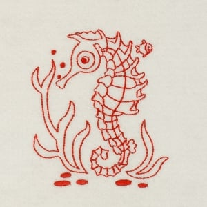 Matriz de bordado cavalo marinho redwork 1
