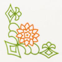 Matriz de bordado floral canto 6