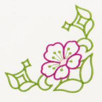 Matriz de bordado floral canto 7