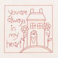 Matriz de bordado redwork coração em casa