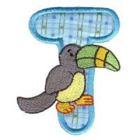 Matriz de bordado Monograma aplique infantil letra T