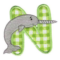 Matriz de bordado Monograma aplique infantil letra N