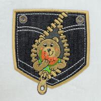 Matriz de bordado ursinho no bolso aplique 1