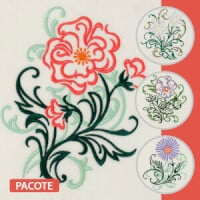 Matriz de bordado Pacote Bordados Florais 8