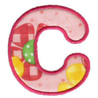 Matriz de bordado Monograma Aplique Infantil 3 Letra C