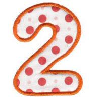 Matriz de bordado Monograma Aplique Infantil 3 Número 2
