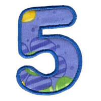 Matriz de bordado Monograma Aplique Infantil 3 Número 5