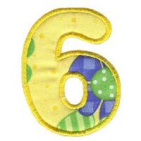 Matriz de bordado Monograma Aplique Infantil 3 Número 6