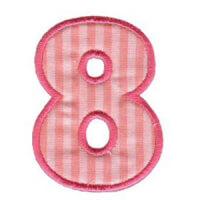 Matriz de bordado Monograma Aplique Infantil 3 Número 8