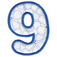 Matriz de bordado Monograma Aplique Infantil 3 Número 9