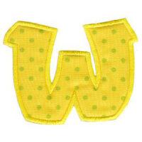 Matriz de bordado Monograma Aplique Infantil 5 Letra W é