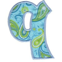 Matriz de bordado Monograma Aplique Infantil 5 Letra Q