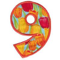 Matriz de bordado Monograma Aplique Infantil 5 Número 9