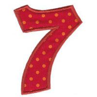 Matriz de bordado Monograma Aplique Infantil 5 Número 7