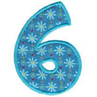Matriz de bordado Monograma Aplique Infantil 5 Número 6