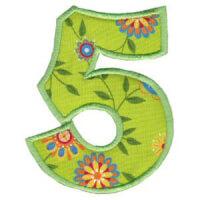 Matriz de bordado Monograma Aplique Infantil 5 Número 5