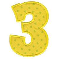 Matriz de bordado Monograma Aplique Infantil 5 Número 3