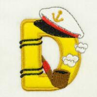 Matriz de bordado alfabeto aplique marinheiro 22