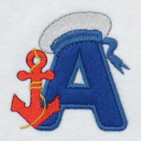 Matriz de bordado alfabeto aplique marinheiro 25