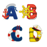 Matriz de bordado Pacote Bordados Alfabetos Infantil Marinheiro