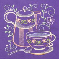 Matriz de bordado cafe na mesa 10