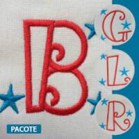 Matriz de bordado Pacote Alfabeto Infantil Estrelinhas