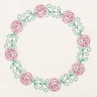 Matriz de bordado floral contorno 7