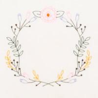 Matriz de bordado moldura floral