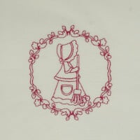 Matriz de bordado garotinha redwork 22