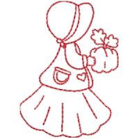 Matriz de bordado garotinha redwork 35