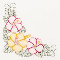 Matriz de bordado floral rippled 15