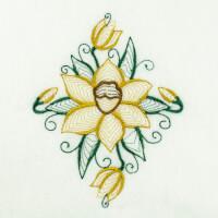 Matriz de bordado floral rippled 19