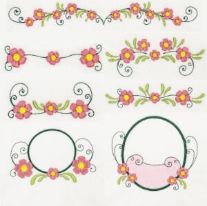 Flowers Embroidery Design Pack