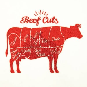 Beef Cuts Embroidery Design